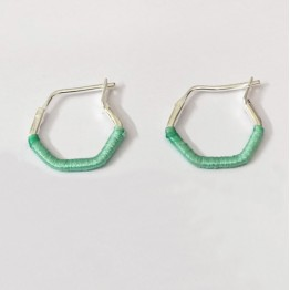 Hexagon Earrings - Mint