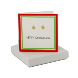 Merry Christmas - Gold Sparkly Star Studs
