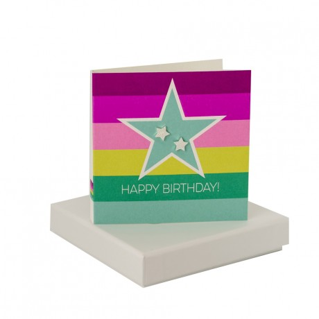 Happy Birthday - Sparkly Silver Star Studs