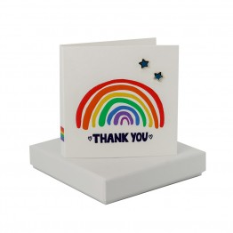 Rainbow Thank You - Blue Enamel Star Studs