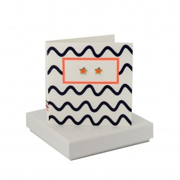 Waves - Coral Enamel Star Studs
